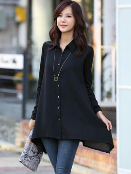 Stylish Solid Color Mid-Length Shirt