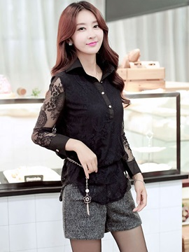 See-through Lace Sleeves and Hem Shirt