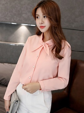 Sweet Candy Color Bowknot Neck Slim Shirt