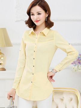 Stylish Solid Color Mid-Length Slim Shirt