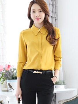 Simple Solid Color Long Sleeve Shirt