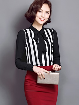 Stylish Stripe Bowknot Decorated Neck Shirt
