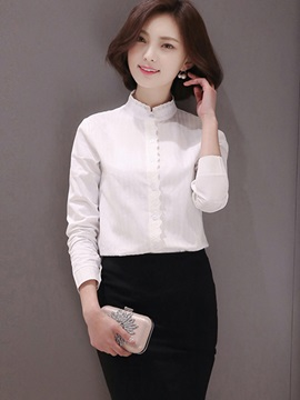Simple Solid Color Stand Collar Shirt