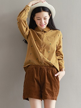 Casual Embroidery Pattern Decorated Shirt