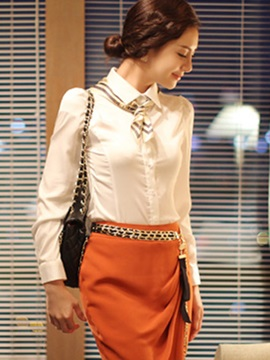 Splendid Ruffled Neck Slim Shirt