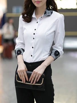 Stylish Lace Patchwork Long Sleeve Shirt