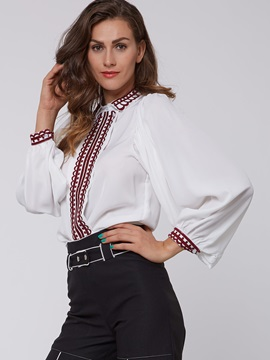 Stylish Embroidery Lantern Sleeve Loose Shirt