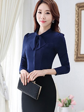 Stylish Bow Collar Slim Shirt