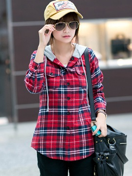 Casual Check Hooded Shirt