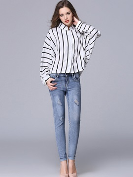 Stylish Stripe Print Stand Collar Shirt