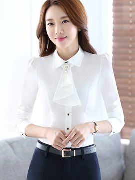Stylish Frill Collar Slim Work Shirt