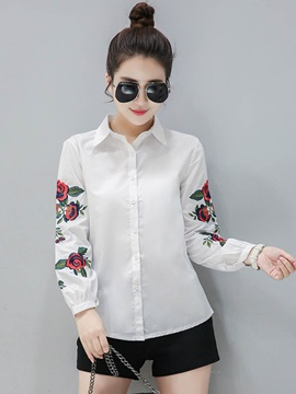 Stylish Embroidery Sleeve Lapel Shirt