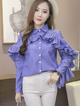 Chic Frill Single-Breasted Shirt
