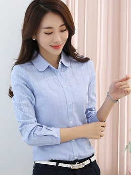 Simple Lapel Plain Shirt