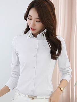 Stylish Embroidery Lapel Plain Shirt