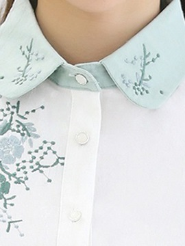 Chic Embroidery Color Block Shirt