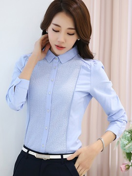 Chic Patchwork Plain OL Shirt