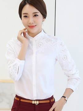 Chic Floral Hollow Plain OL Shirt