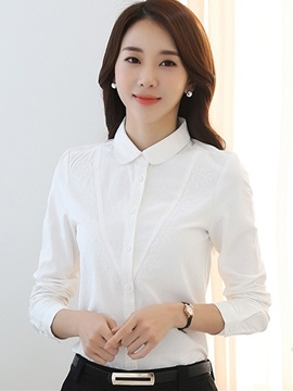 Stylish Peter Pan Collar Plain Shirt