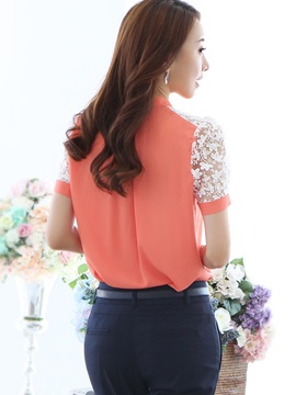 Lace Color Block Shoulder Shirt