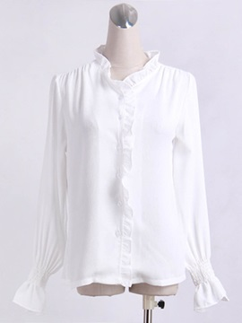 White Falbala Flare Sleeve Shirt