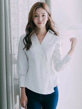 Stripe Irregular Lantern Sleeve Shirt