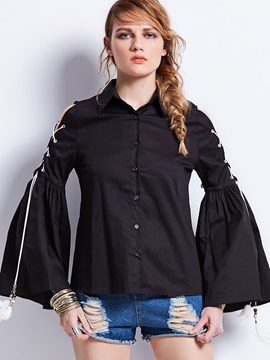 Lapel Off Shoulder Lace Up Flare Sleeve Shirt