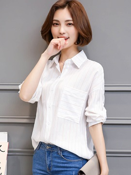 Lapel Loose Stripe Pocket Shirt