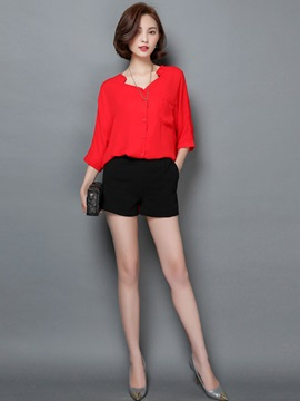 Loose V-Neck Chiffon Mid-Length Shirt