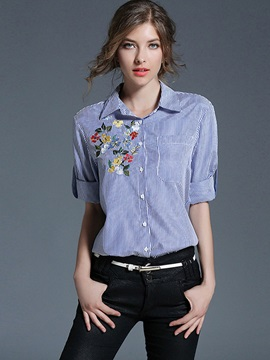 Lapel Stripe Embroidery Shirt