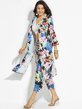 Notched Lapel Color Block Flower Print Long Shirt