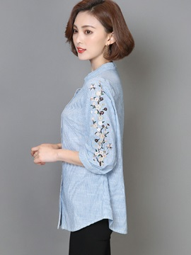 Stand Collar Stripe Embroidery Shirt