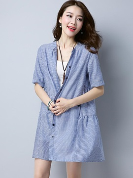 Loose Stripe Mid-Length Shirt