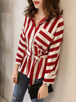 Long Sleeve Stripe V-Neck Shirt