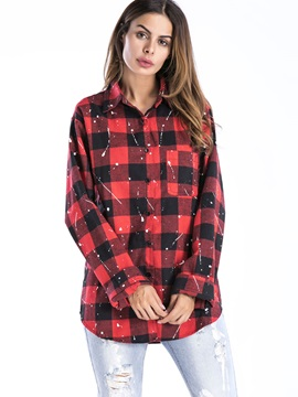 Lapel Long Sleeve Loose Plaid Shirt