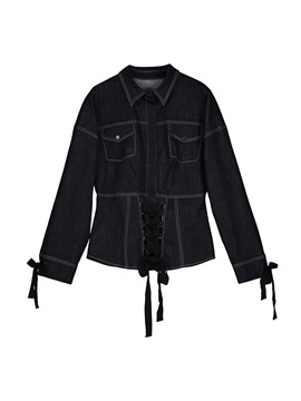 Slim Lapel Single-Breasted Lace-Up Women's Denim Shirt