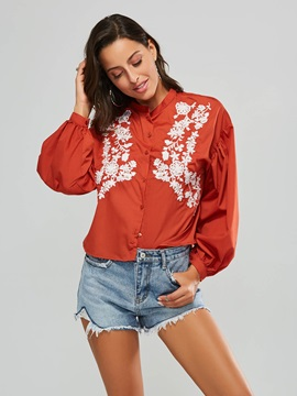 Floral Embroidery Puff Sleeve Women's Shirt