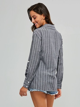 Striped Lace-Up Buttons Pleated Women's Shirt