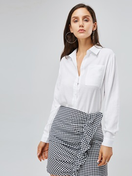 Stylish Tie Front Solid Color Women's Shirt