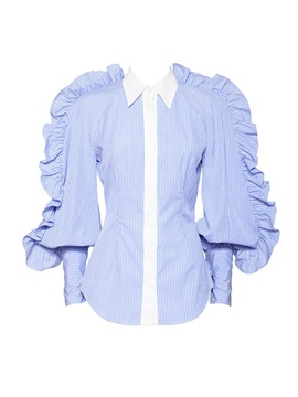 OL Falbala Striped Plus Size Women's Shirt