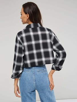 Plaid Lapel Long Sleeve Women's Short Shirt