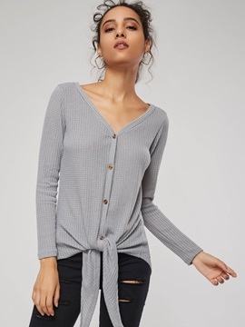 V-Neck Single-Breasted Loose Women's Shirt