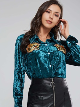 Animal Embroidery Single-Breasted Lapel Women's Shirt