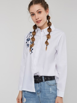 Embroidery Lapel Floral Long Sleeve Button Women's Shirt
