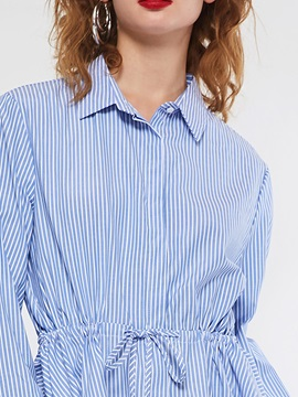 Lapel Stripe Lace-Up Mid-Length Tunic Women's Shirt