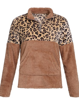 Leopard Zipper Long Sleeve Standard Women's Hoodie