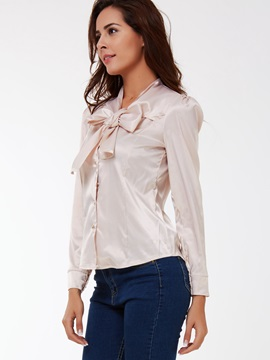 Fashion Korean Style Bow Knot Long Sleeve Shirt
