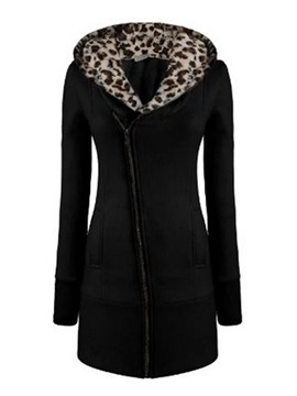 Beautiful Korean Style Leopard Comfortable Warm Thick Long Hoodie