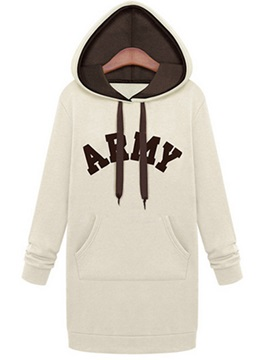 Casual Letter Pattern Hooded Hoodie