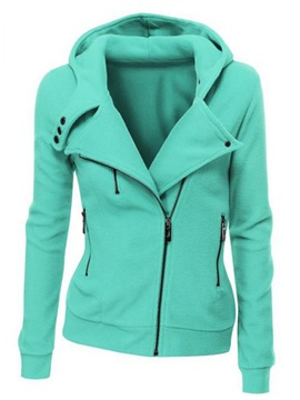 Hooded Splendid Sloping Zipper Lapel Women's Hoodie